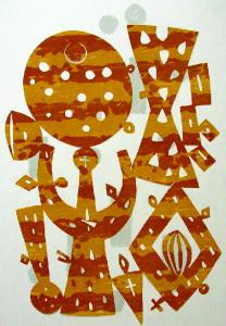 Fritz Griebel: Komposition in Gelb und Braun um 1965, 40,5 x 29 cm.